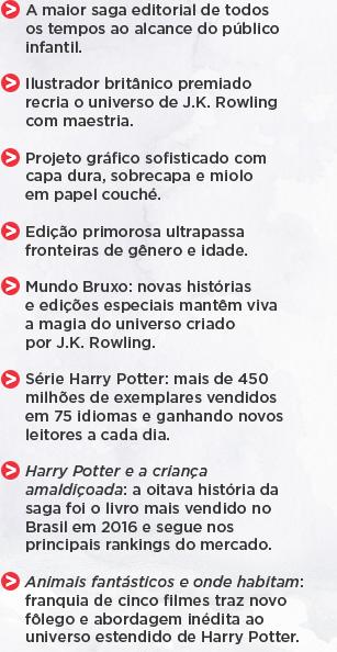 A maior saga editorial de todos os tempos ao alcance do público infantil. ** Ilustrador britânico premiado recria o universo de J.K. Rowling com maestria. ** Projeto gráfico sofisticado com capa dura, sobrecapa e miolo em papel couché. ** Edição primorosa ultrapassa fronteiras de gênero e idade. ** Mundo Bruxo: novas histórias e edições especiais mantêm viva a magia do universo criado por J.K. Rowling. ** Série Harry Potter: mais de 450 milhões de exemplares vendidos em 75 idiomas e ganhando novos leitores a cada dia. ** Harry Potter e a criança amaldiçoada: a oitava história da saga foi o livro mais vendido no Brasil em 2016 e segue nos principais rankings do mercado. ** Animais fantásticos e onde habitam: franquia de cinco filmes traz novo fôlego e abordagem inédita ao universo estendido de Harry Potter.