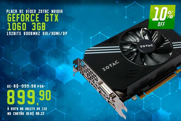 Placa de Vídeo VGA Zotac NVIDIA GeForce GTX 1060 3GB 192Bits 8008Mhz DVI/HDMI/DP - ZT-P10610A-10L