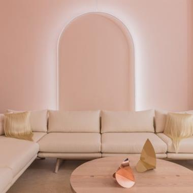 Lights trace arches and doorways at The Future Perfect's pink-toned New York exhibition